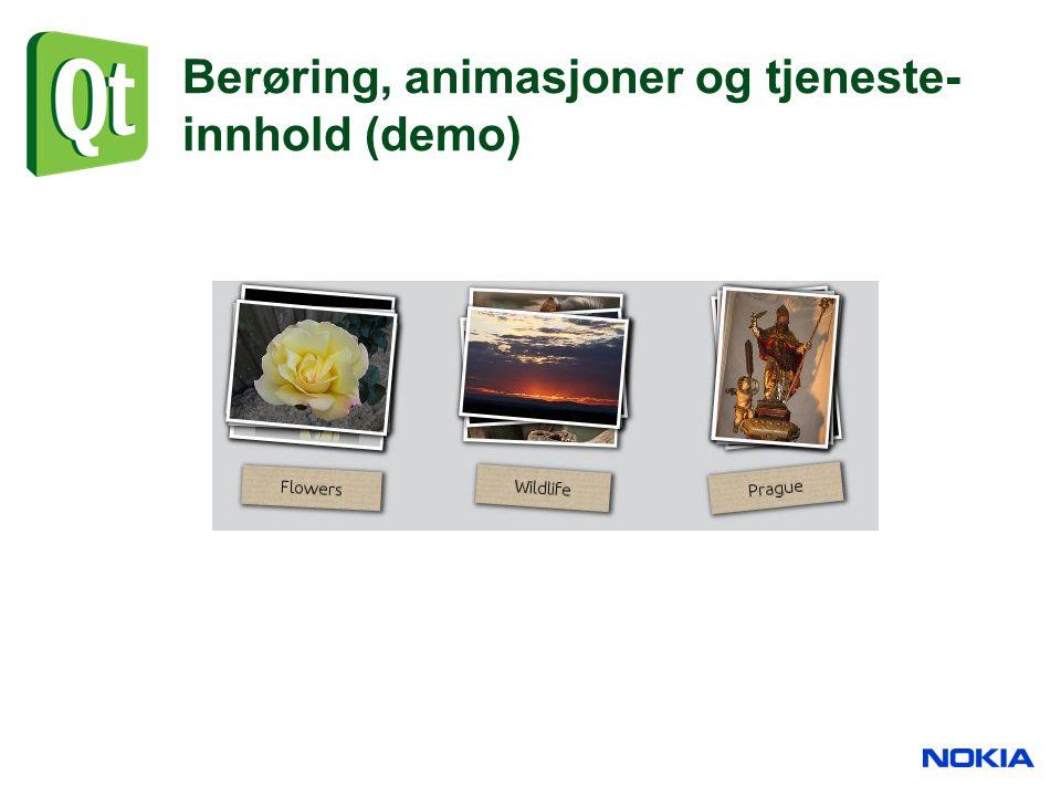 Berøring, animasjoner og tjeneste- innhold (demo)