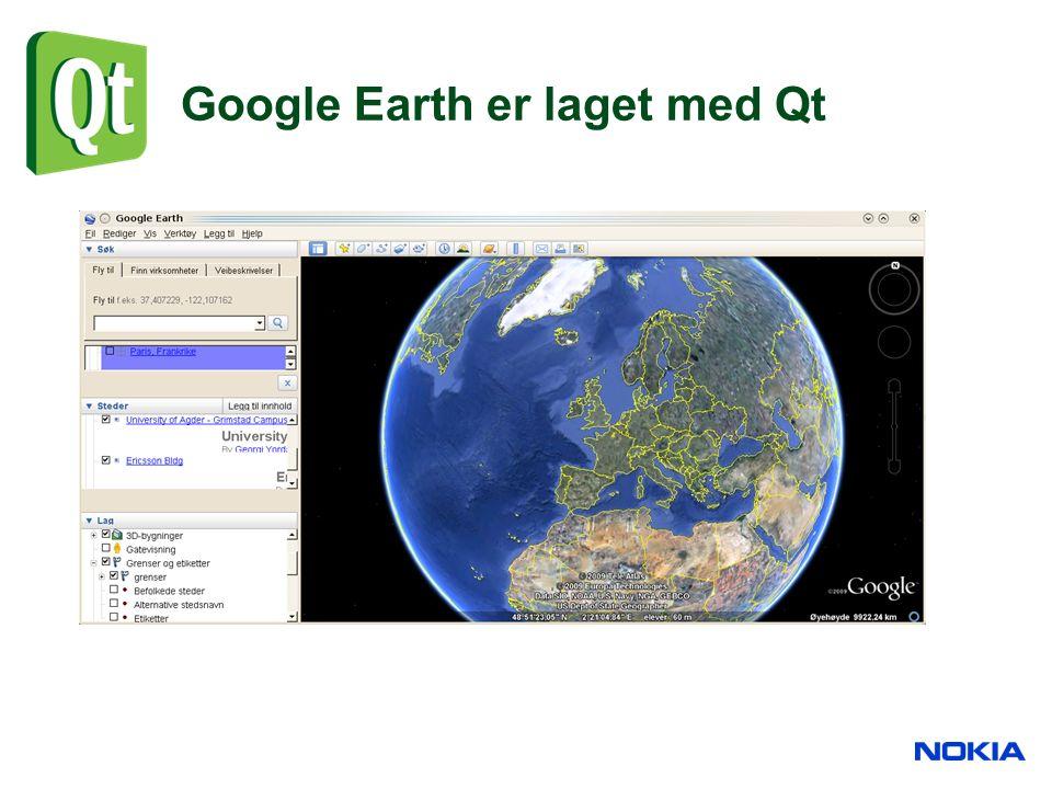 Google Earth er laget med Qt