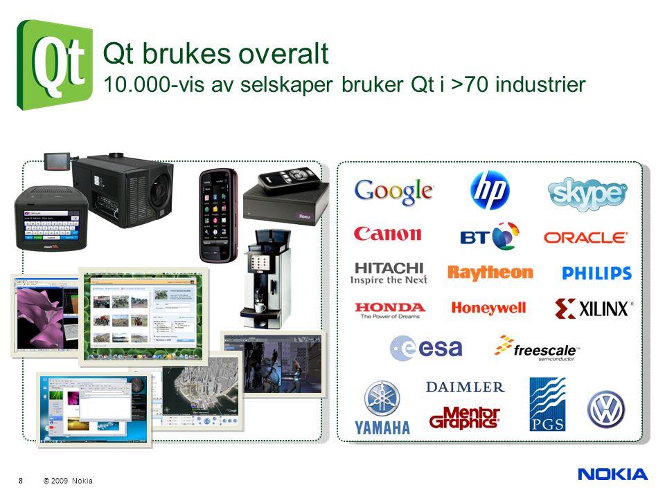 © 2009 Nokia 88 Qt brukes overalt 10.000-vis av selskaper bruker Qt i >70 industrier