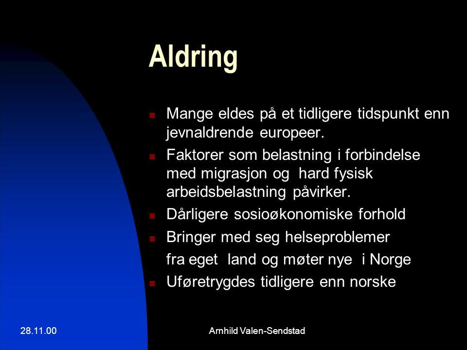 28.11.00Arnhild Valen-Sendstad Aldring Mange eldes på et tidligere tidspunkt enn jevnaldrende europeer. Faktorer som belastning i forbindelse med migr