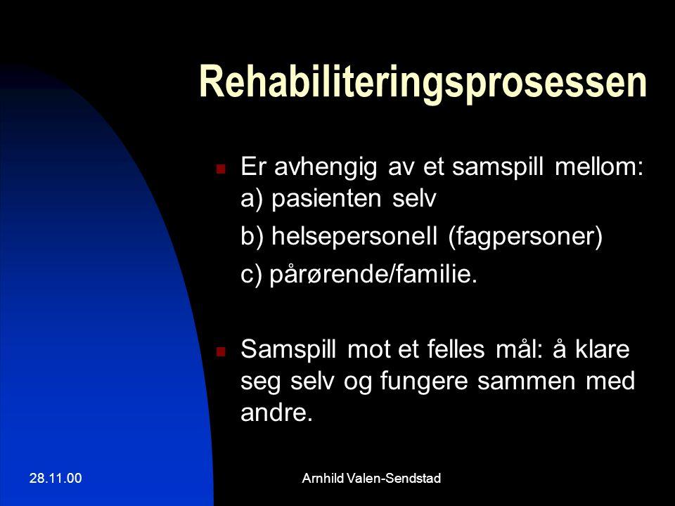 28.11.00Arnhild Valen-Sendstad Rehabiliteringsprosessen Er avhengig av et samspill mellom: a) pasienten selv b) helsepersonell (fagpersoner) c) pårørende/familie.