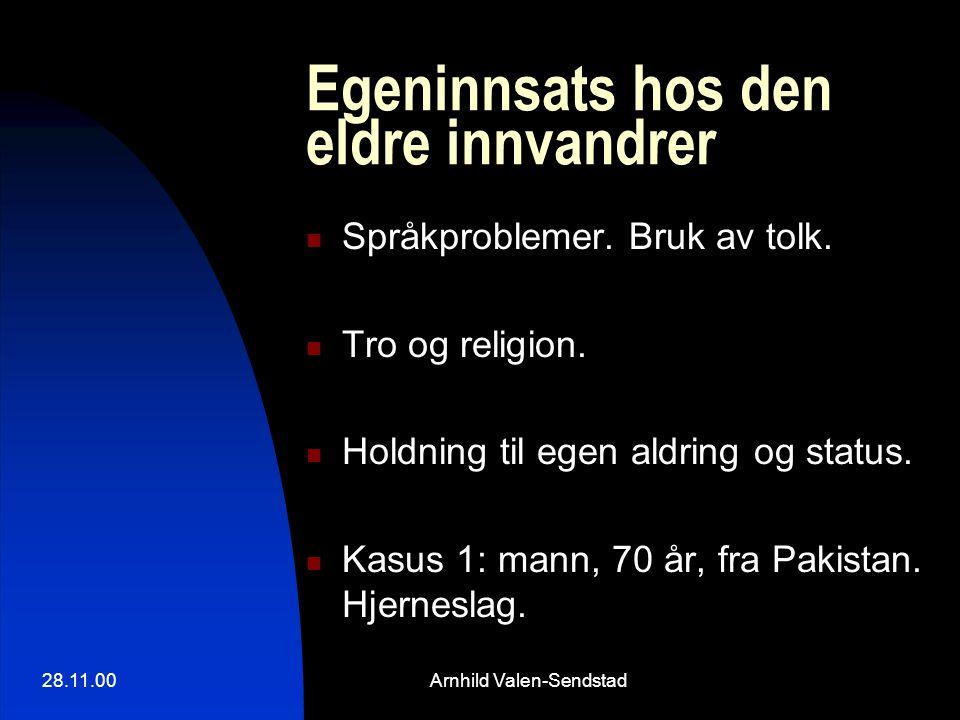 28.11.00Arnhild Valen-Sendstad Egeninnsats hos den eldre innvandrer Språkproblemer. Bruk av tolk. Tro og religion. Holdning til egen aldring og status