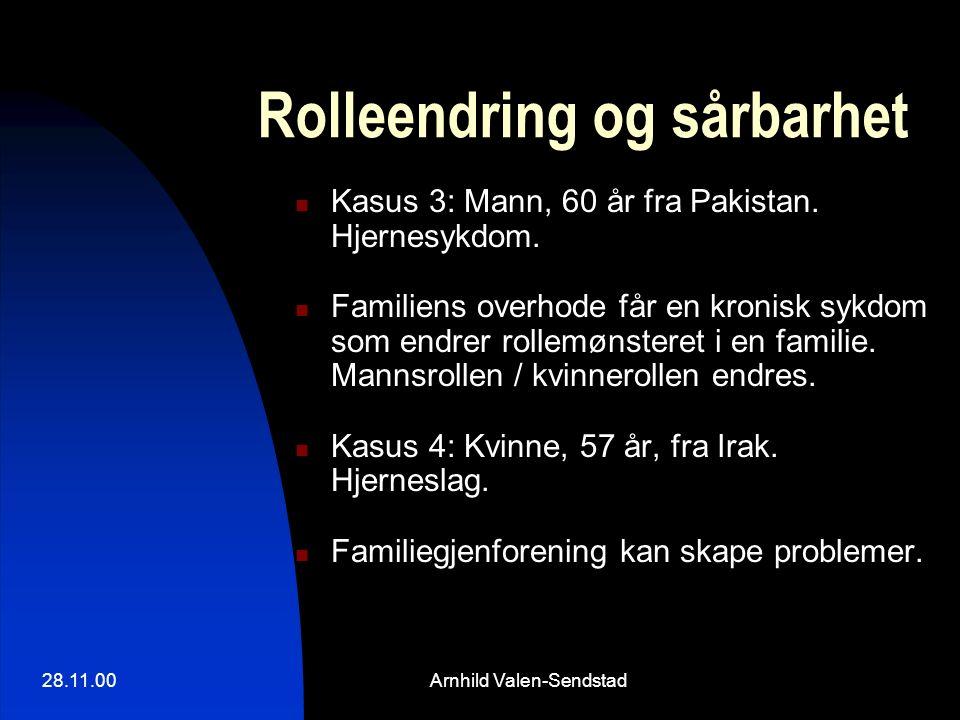 28.11.00Arnhild Valen-Sendstad Rolleendring og sårbarhet Kasus 3: Mann, 60 år fra Pakistan. Hjernesykdom. Familiens overhode får en kronisk sykdom som