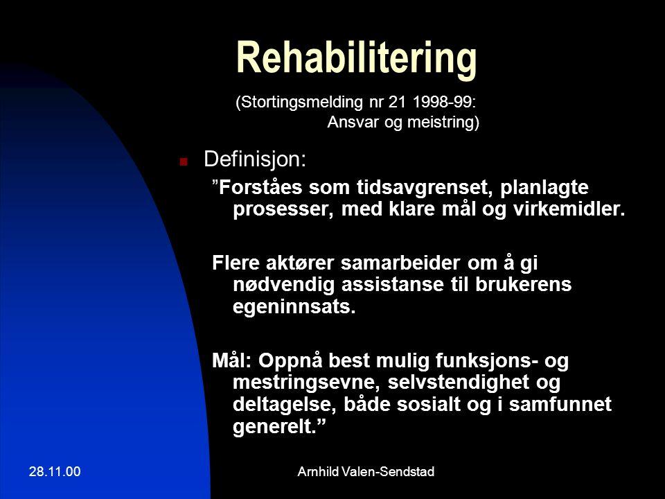 """28.11.00Arnhild Valen-Sendstad Rehabilitering Definisjon: """"Forståes som tidsavgrenset, planlagte prosesser, med klare mål og virkemidler. Flere aktøre"""