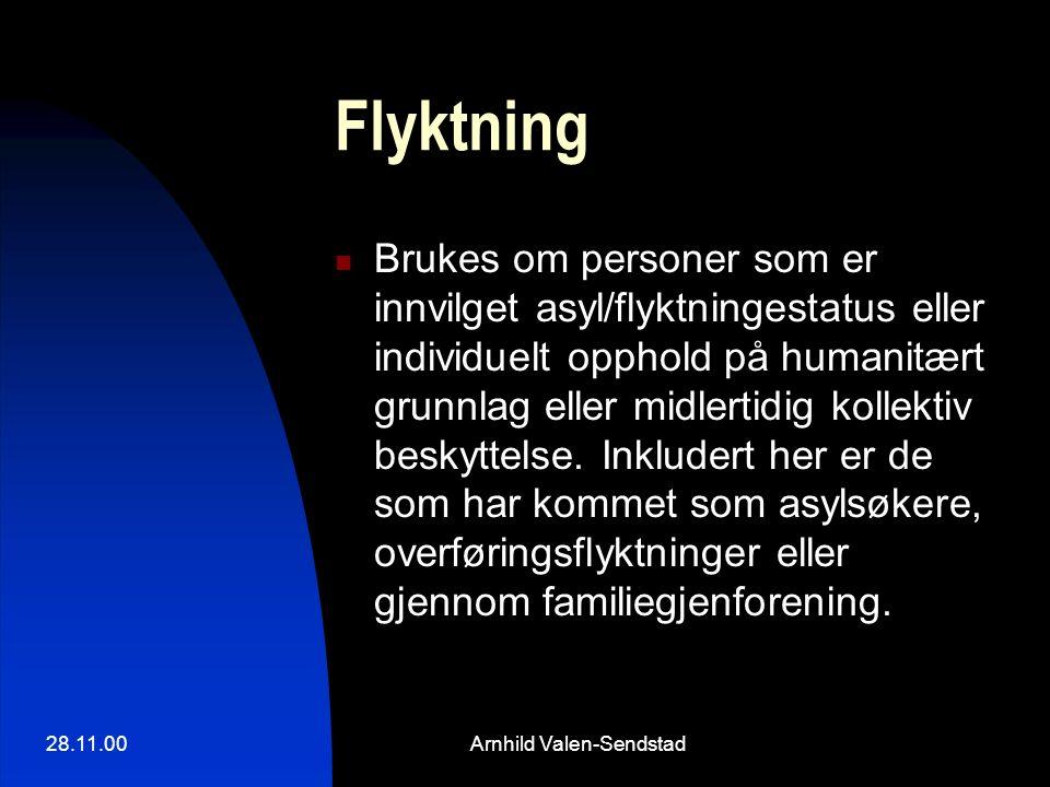 28.11.00Arnhild Valen-Sendstad Flyktning Brukes om personer som er innvilget asyl/flyktningestatus eller individuelt opphold på humanitært grunnlag eller midlertidig kollektiv beskyttelse.