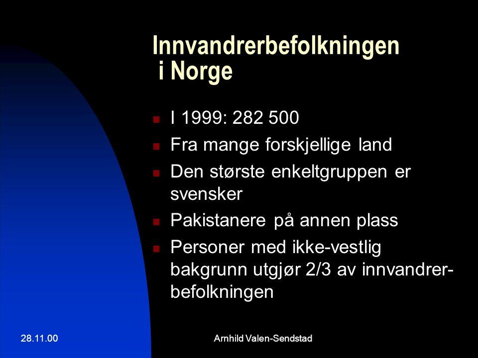28.11.00Arnhild Valen-Sendstad Innvandrerbefolkningen i Norge I 1999: 282 500 Fra mange forskjellige land Den største enkeltgruppen er svensker Pakistanere på annen plass Personer med ikke-vestlig bakgrunn utgjør 2/3 av innvandrer- befolkningen