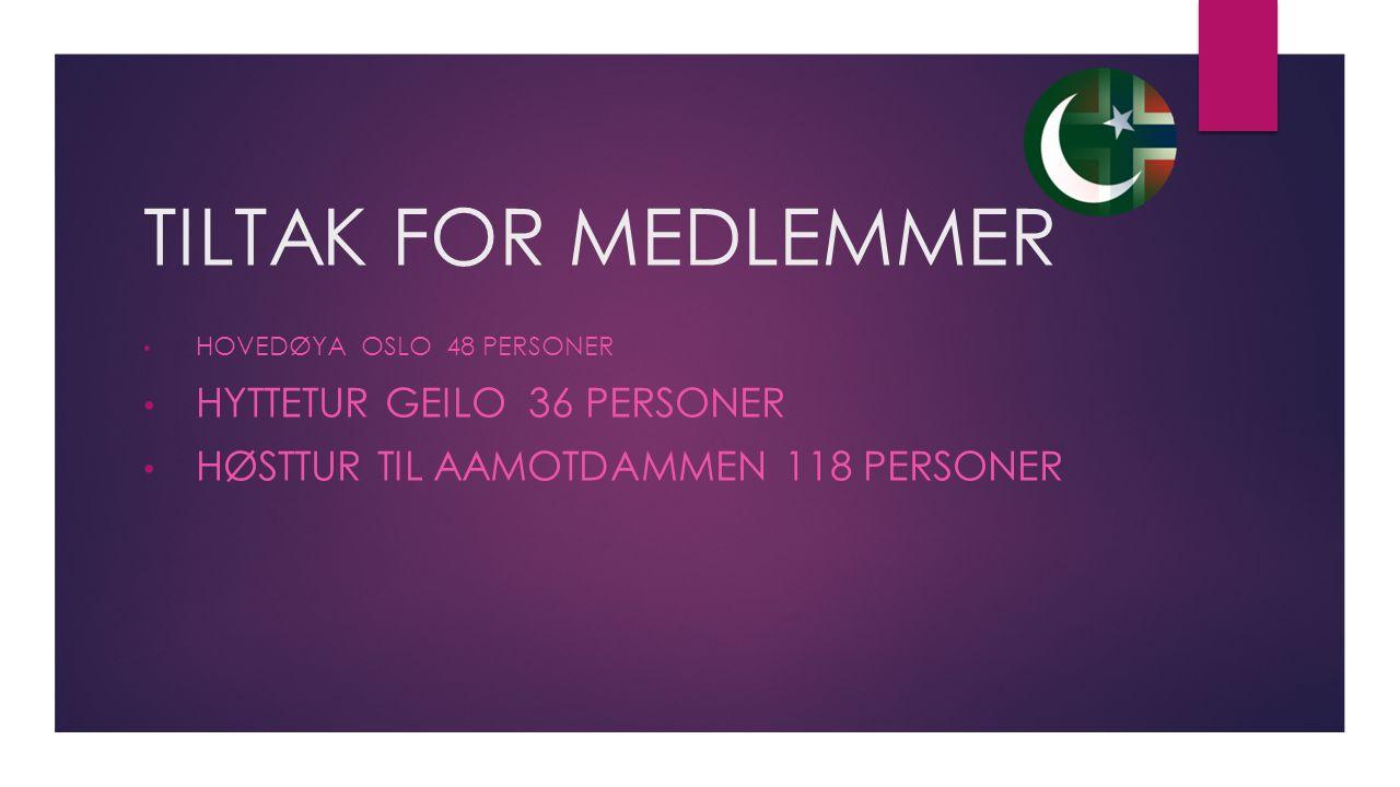 TILTAK FOR MEDLEMMER HOVEDØYA OSLO 48 PERSONER HYTTETUR GEILO 36 PERSONER HØSTTUR TIL AAMOTDAMMEN 118 PERSONER