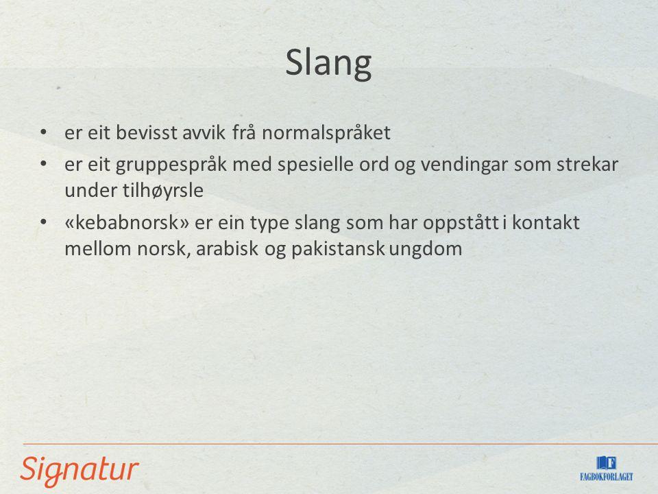 Slang er eit bevisst avvik frå normalspråket er eit gruppespråk med spesielle ord og vendingar som strekar under tilhøyrsle «kebabnorsk» er ein type slang som har oppstått i kontakt mellom norsk, arabisk og pakistansk ungdom