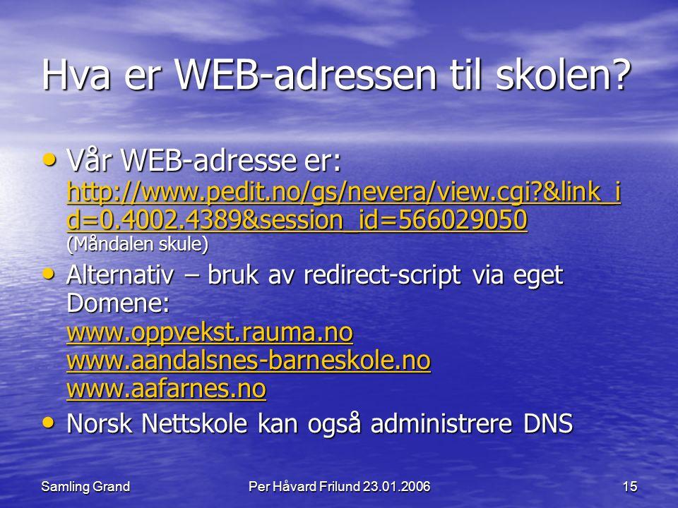 Samling GrandPer Håvard Frilund 23.01.200615 Hva er WEB-adressen til skolen.
