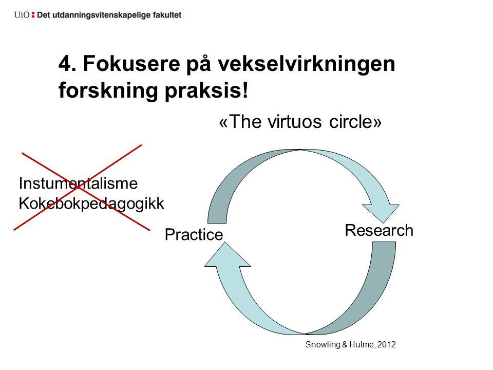 4. Fokusere på vekselvirkningen forskning praksis.