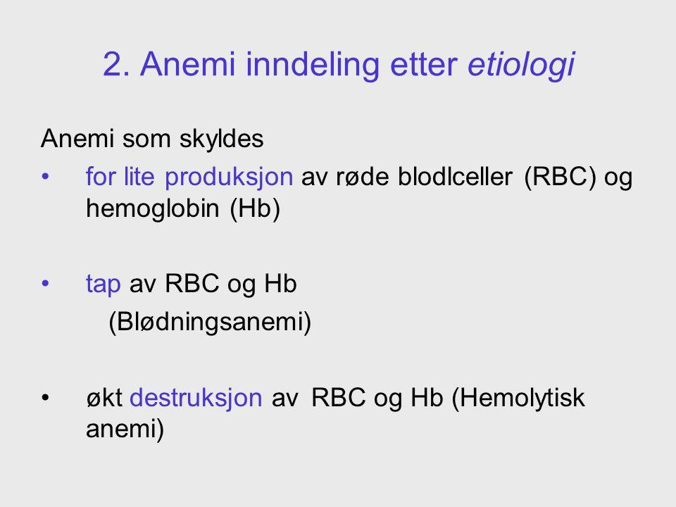 2. Anemi inndeling etter etiologi Anemi som skyldes for lite produksjon av røde blodlceller (RBC) og hemoglobin (Hb) tap av RBC og Hb (Blødningsanemi)