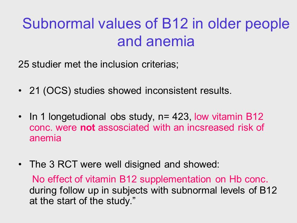 Subnormal values of B12 in older people and anemia 25 studier met the inclusion criterias; 21 (OCS) studies showed inconsistent results. In 1 longetud
