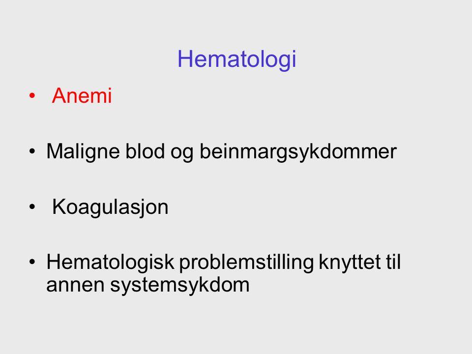 Jernmangelanemi Vanligvis forårsaket av: Kronisk blodtap –GI sår –Colon cancer, divertikler, angiodysplasier Sjeldent for lavt inntak eller dårlig opptak i tarm
