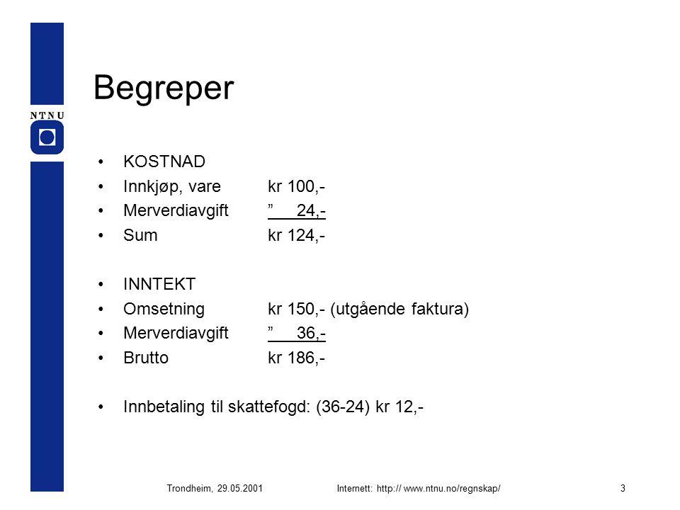 Trondheim, 29.05.2001Internett: http:// www.ntnu.no/regnskap/3 Begreper KOSTNAD Innkjøp, varekr 100,- Merverdiavgift 24,- Sumkr 124,- INNTEKT Omsetningkr 150,- (utgående faktura) Merverdiavgift 36,- Bruttokr 186,- Innbetaling til skattefogd: (36-24) kr 12,-