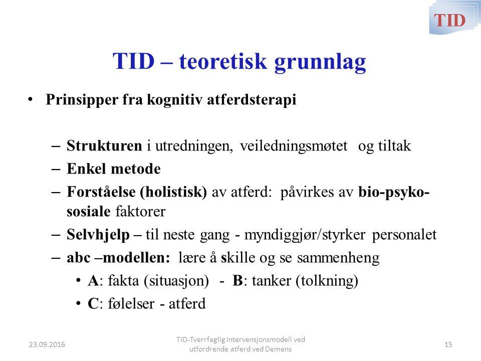 TID – teoretisk grunnlag Prinsipper fra kognitiv atferdsterapi – Strukturen i utredningen, veiledningsmøtet og tiltak – Enkel metode – Forståelse (hol