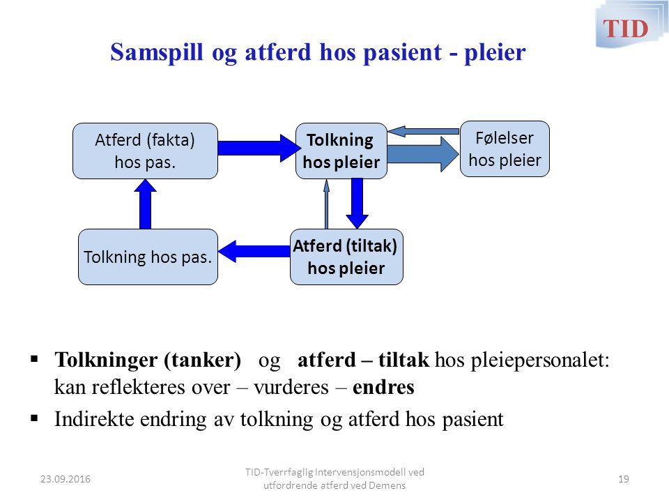 Samspill og atferd hos pasient - pleier  Tolkninger (tanker) og atferd – tiltak hos pleiepersonalet: kan reflekteres over – vurderes – endres  Indir