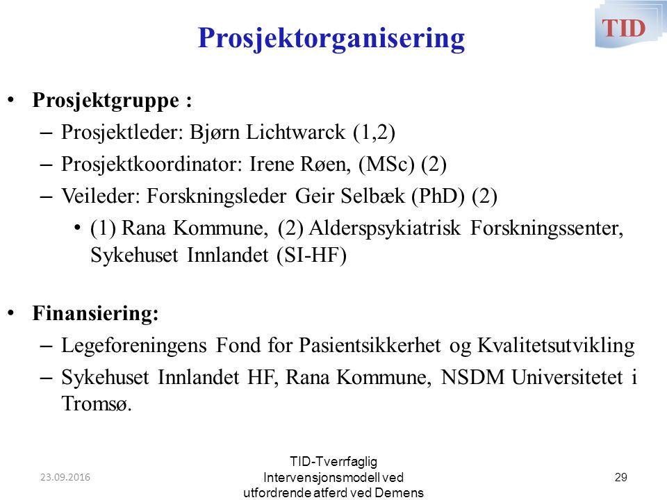 Prosjektorganisering Prosjektgruppe : – Prosjektleder: Bjørn Lichtwarck (1,2) – Prosjektkoordinator: Irene Røen, (MSc) (2) – Veileder: Forskningsleder Geir Selbæk (PhD) (2) (1) Rana Kommune, (2) Alderspsykiatrisk Forskningssenter, Sykehuset Innlandet (SI-HF) Finansiering: – Legeforeningens Fond for Pasientsikkerhet og Kvalitetsutvikling – Sykehuset Innlandet HF, Rana Kommune, NSDM Universitetet i Tromsø.