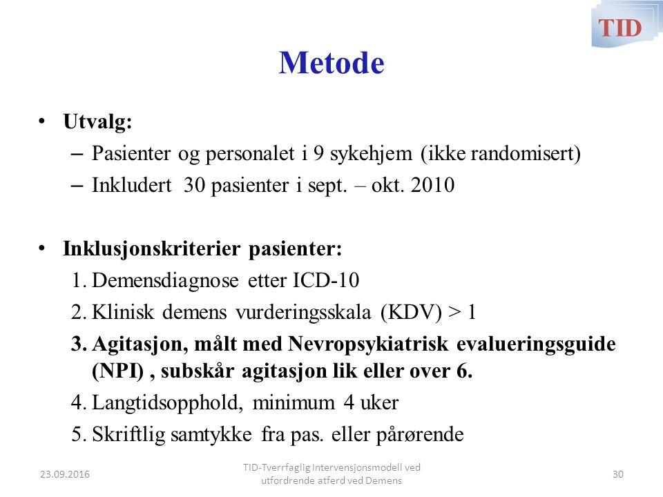 Metode Utvalg: – Pasienter og personalet i 9 sykehjem (ikke randomisert) – Inkludert 30 pasienter i sept. – okt. 2010 Inklusjonskriterier pasienter: 1