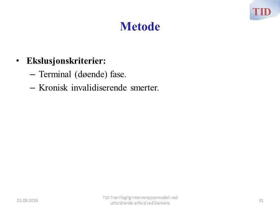 Metode Ekslusjonskriterier: – Terminal (døende) fase. – Kronisk invalidiserende smerter. TID TID-Tverrfaglig Intervensjonsmodell ved utfordrende atfer