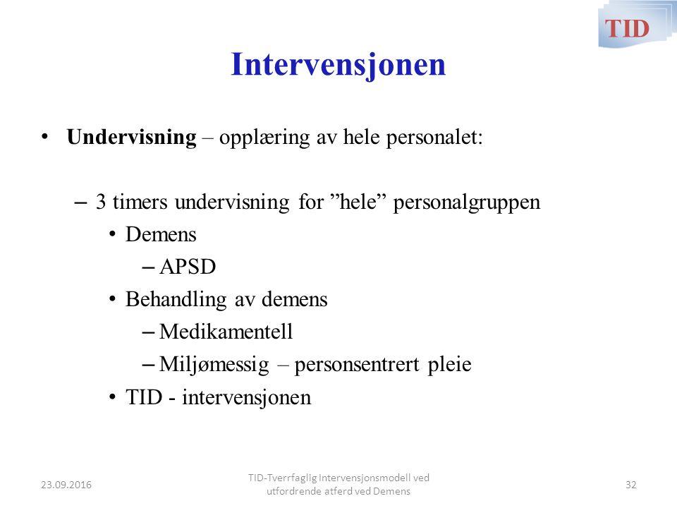 """Intervensjonen Undervisning – opplæring av hele personalet: – 3 timers undervisning for """"hele"""" personalgruppen Demens – APSD Behandling av demens – Me"""