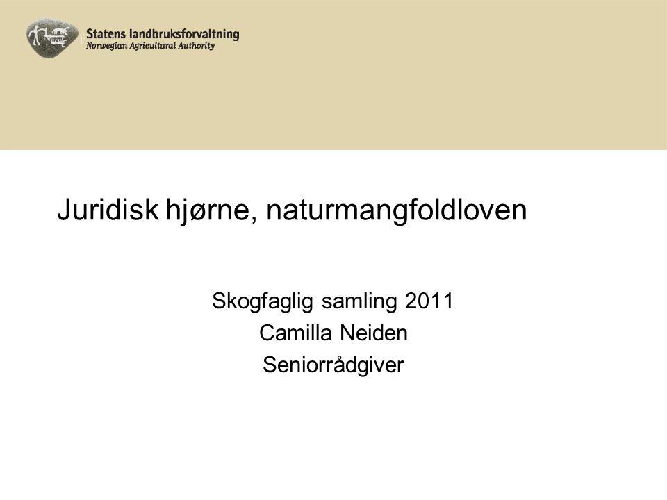 Juridisk hjørne, naturmangfoldloven Skogfaglig samling 2011 Camilla Neiden Seniorrådgiver