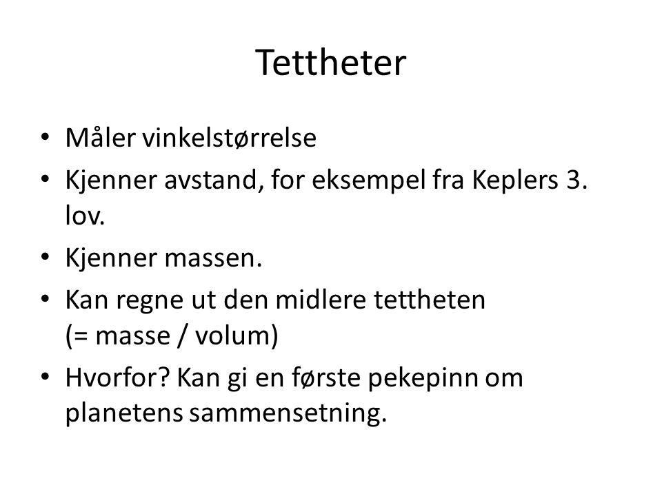 Tettheter Måler vinkelstørrelse Kjenner avstand, for eksempel fra Keplers 3.