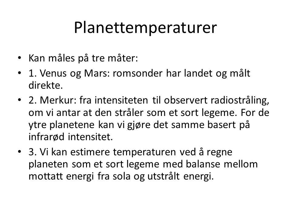 Planettemperaturer Kan måles på tre måter: 1. Venus og Mars: romsonder har landet og målt direkte.