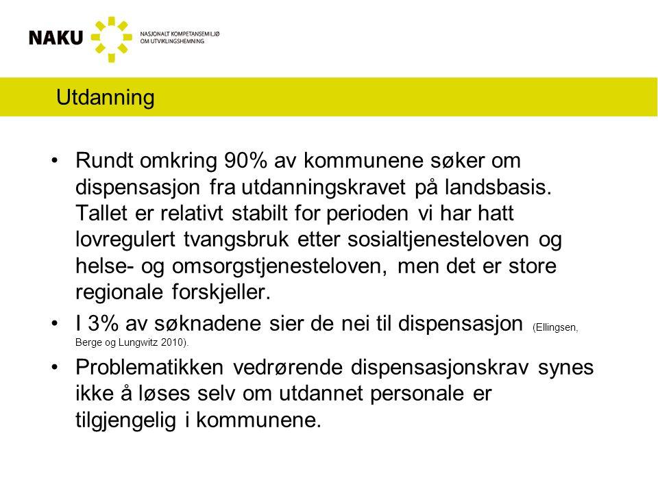 Utdanning Rundt omkring 90% av kommunene søker om dispensasjon fra utdanningskravet på landsbasis.
