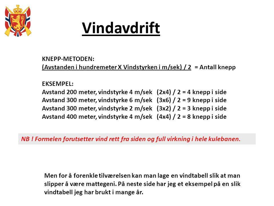 Vindavdrift KNEPP-METODEN: (Avstanden i hundremeter X Vindstyrken i m/sek) / 2 = Antall knepp EKSEMPEL: Avstand 200 meter, vindstyrke 4 m/sek (2x4) /