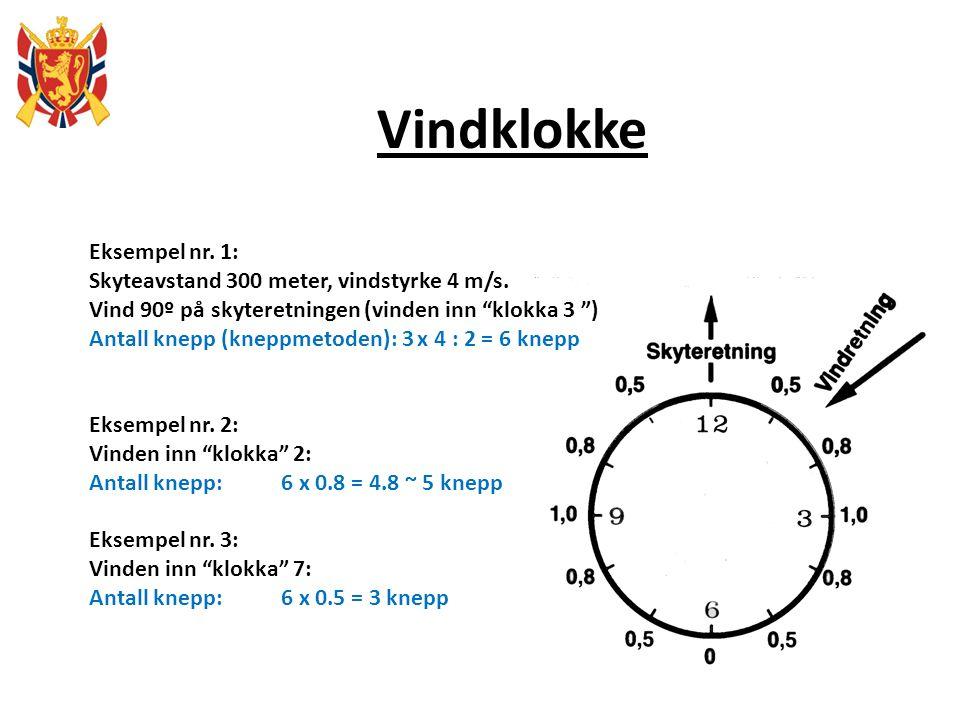 """Vindklokke Eksempel nr. 1: Skyteavstand 300 meter, vindstyrke 4 m/s. Vind 90º på skyteretningen (vinden inn """"klokka 3 """") Antall knepp (kneppmetoden):"""