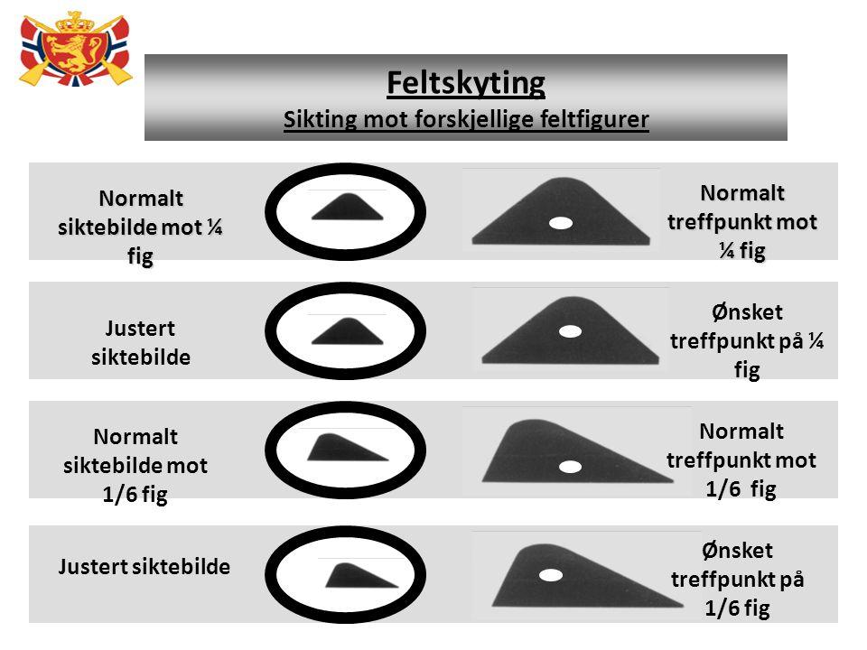 Feltskyting Sikting mot forskjellige feltfigurer Normalt treffpunkt mot ¼ fig Normalt siktebilde mot ¼ fig Ønsket treffpunkt på ¼ fig Justert siktebil