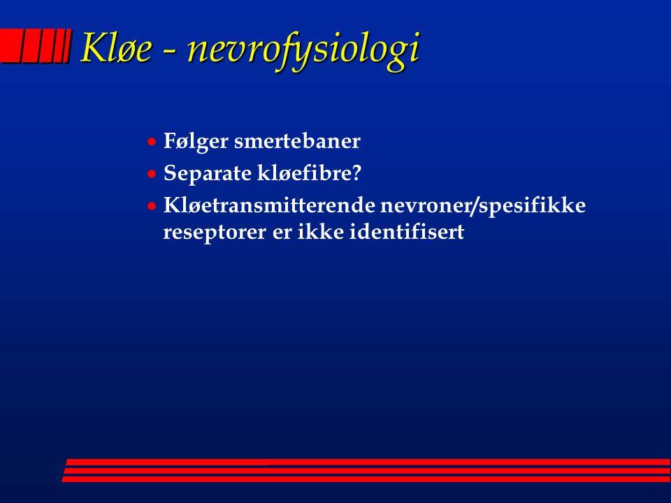 Kløe - nevrofysiologi  Følger smertebaner  Separate kløefibre.