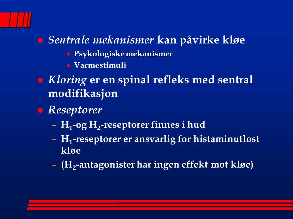 l Sentrale mekanismer kan påvirke kløe  Psykologiske mekanismer  Varmestimuli l Kloring er en spinal refleks med sentral modifikasjon l Reseptorer – H 1 -og H 2 -reseptorer finnes i hud – H 1 -reseptorer er ansvarlig for histaminutløst kløe – (H 2 -antagonister har ingen effekt mot kløe)