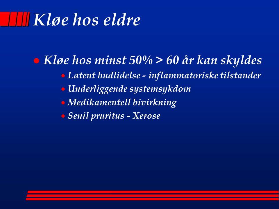 Xerose - tørr kløe hos eldre l Lett grad: Tørr, flassende hud l Mer uttalt: Astestotisk dermatitt (Eczema craquelé), spes.