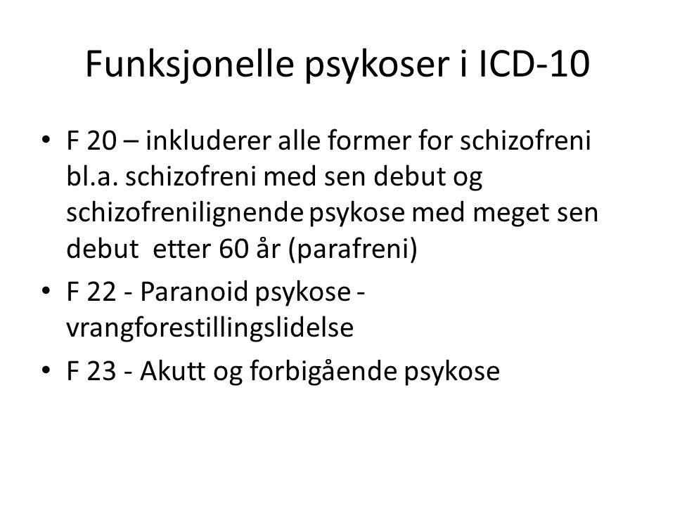 Funksjonelle psykoser i ICD-10 F 20 – inkluderer alle former for schizofreni bl.a.