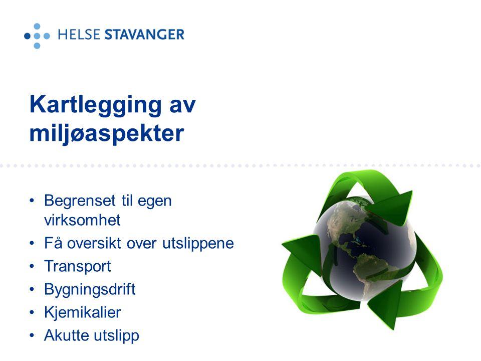 Begrenset til egen virksomhet Få oversikt over utslippene Transport Bygningsdrift Kjemikalier Akutte utslipp Kartlegging av miljøaspekter