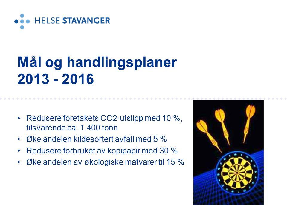 Redusere foretakets CO2-utslipp med 10 %, tilsvarende ca.
