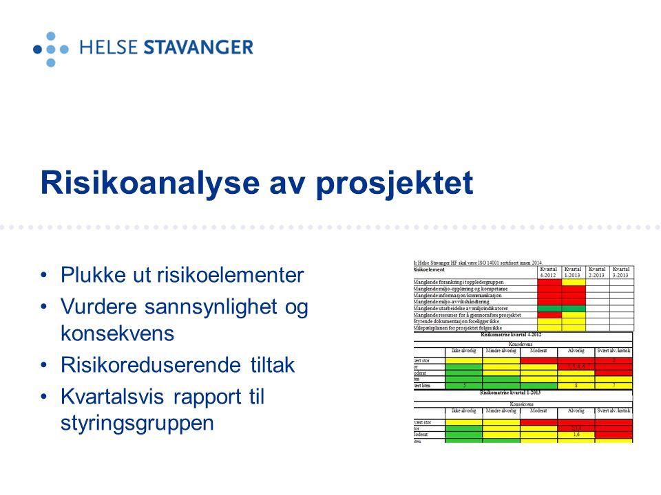 Plukke ut risikoelementer Vurdere sannsynlighet og konsekvens Risikoreduserende tiltak Kvartalsvis rapport til styringsgruppen Risikoanalyse av prosjektet