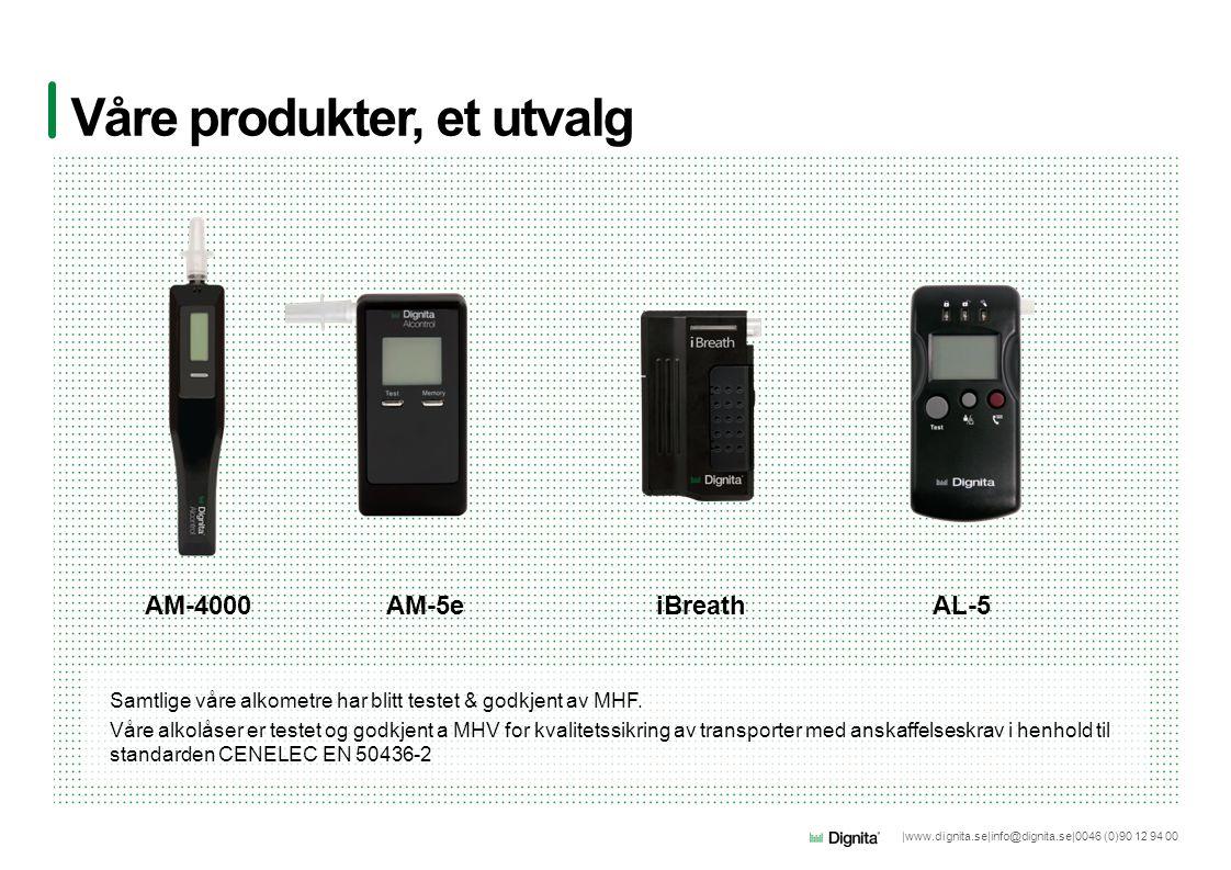 |www.dignita.se|info@dignita.se|0046 (0)90 12 94 00 Våre produkter, et utvalg AM-4000AM-5e Samtlige våre alkometre har blitt testet & godkjent av MHF.