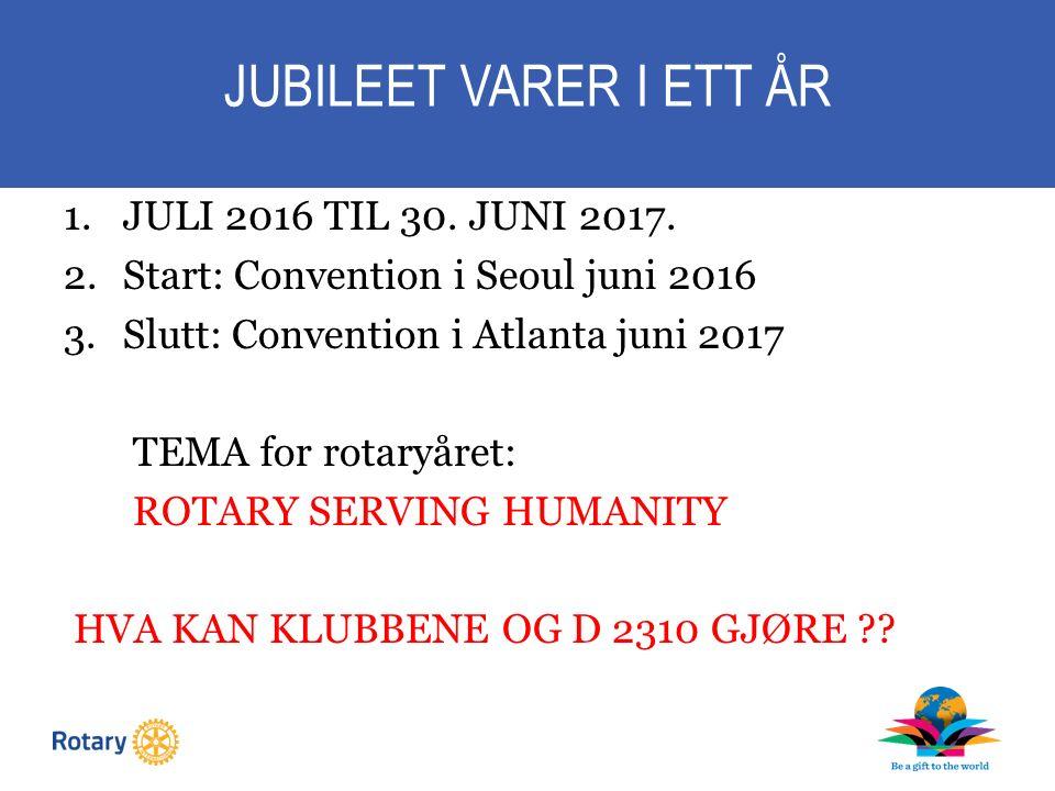 JUBILEET VARER I ETT ÅR 1.JULI 2016 TIL 30. JUNI 2017.