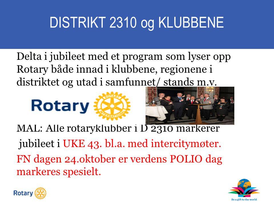 DISTRIKT 2310 og KLUBBENE Delta i jubileet med et program som lyser opp Rotary både innad i klubbene, regionene i distriktet og utad i samfunnet/ stands m.v.