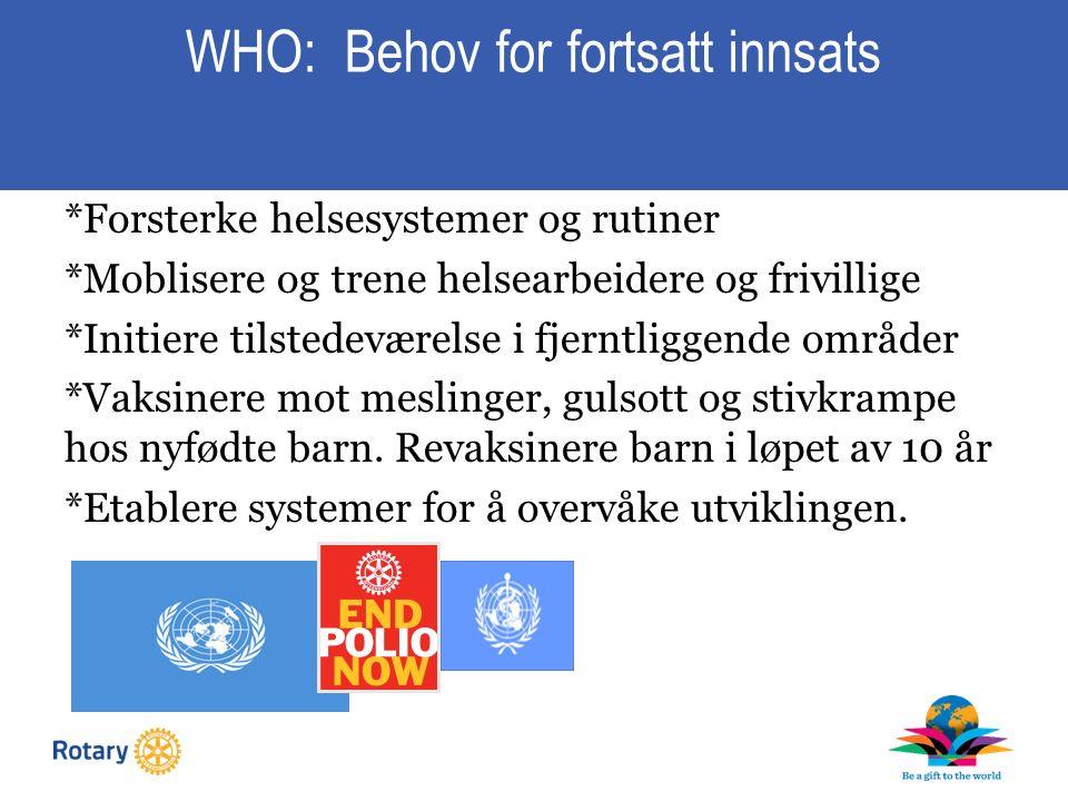 WHO: Behov for fortsatt innsats *Forsterke helsesystemer og rutiner *Moblisere og trene helsearbeidere og frivillige *Initiere tilstedeværelse i fjerntliggende områder *Vaksinere mot meslinger, gulsott og stivkrampe hos nyfødte barn.