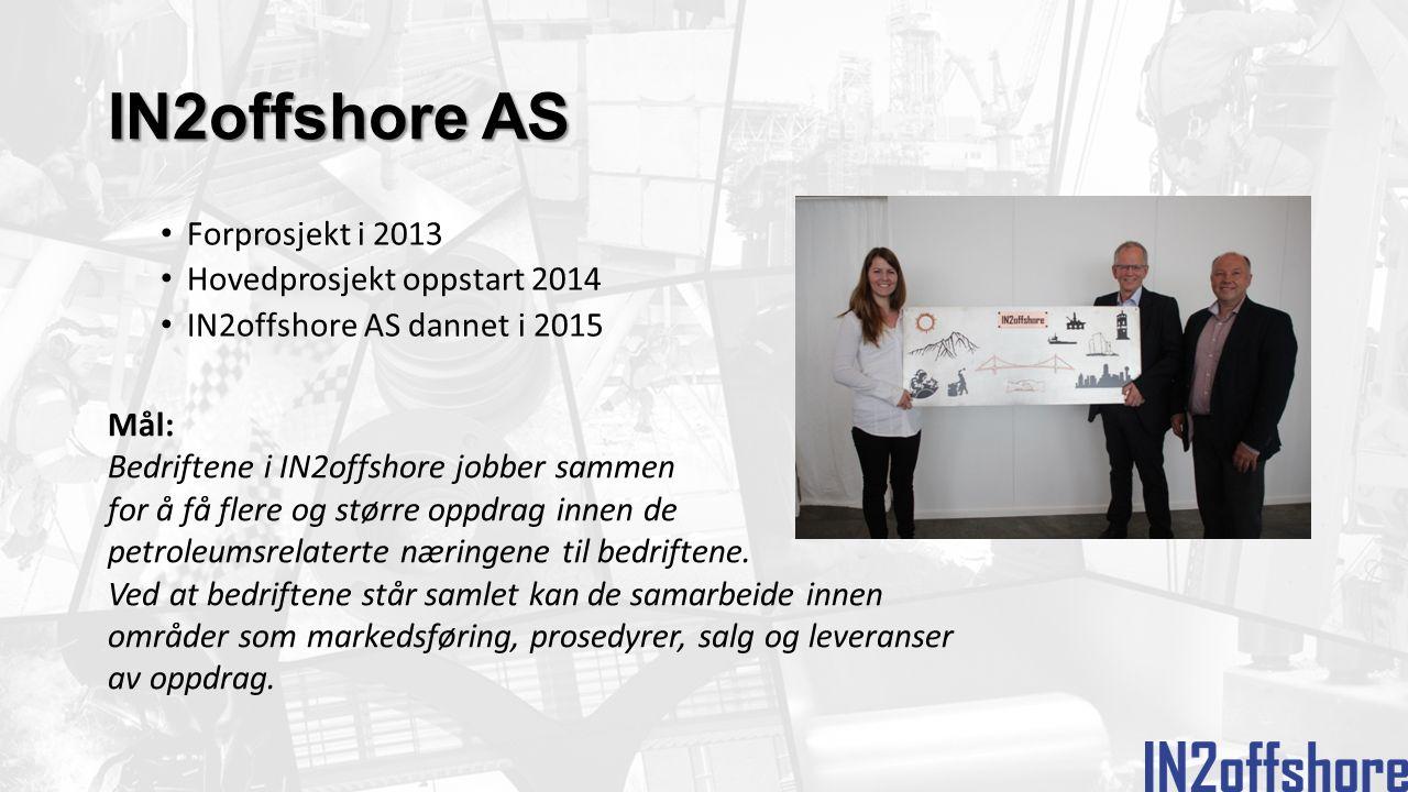 Forprosjekt i 2013 Hovedprosjekt oppstart 2014 IN2offshore AS dannet i 2015 Mål: Bedriftene i IN2offshore jobber sammen for å få flere og større oppdrag innen de petroleumsrelaterte næringene til bedriftene.