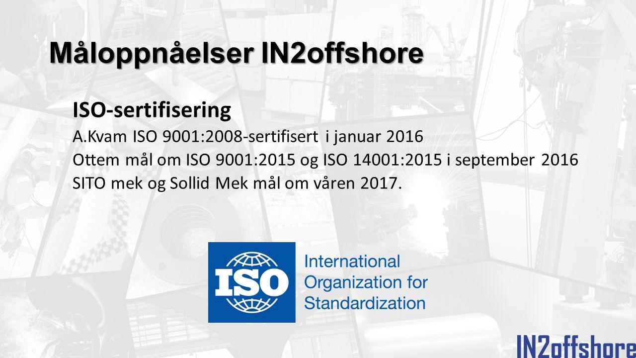 Måloppnåelser IN2offshore ISO-sertifisering A.Kvam ISO 9001:2008-sertifisert i januar 2016 Ottem mål om ISO 9001:2015 og ISO 14001:2015 i september 2016 SITO mek og Sollid Mek mål om våren 2017.