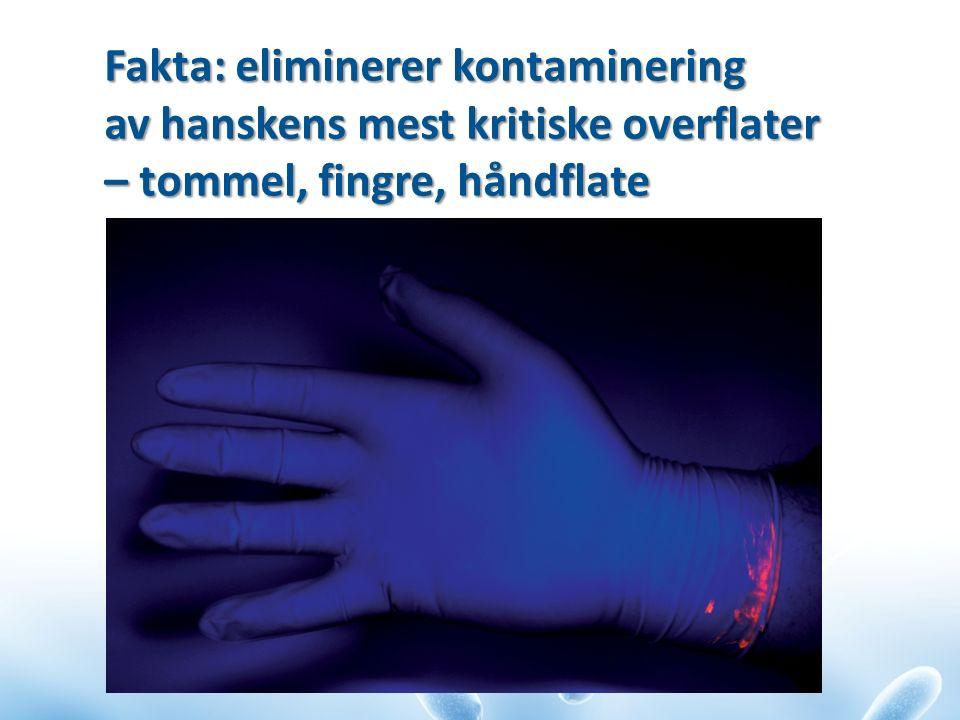 Fakta: eliminerer kontaminering av hanskens mest kritiske overflater – tommel, fingre, håndflate