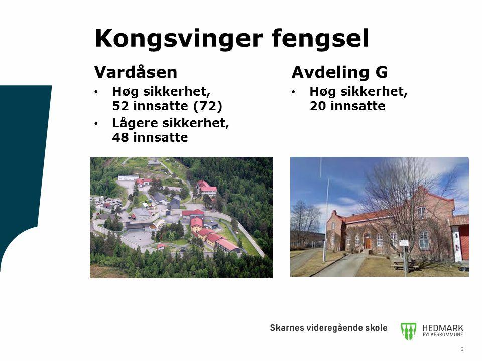 Kongsvinger fengsel Vardåsen Høg sikkerhet, 52 innsatte (72) Lågere sikkerhet, 48 innsatte Avdeling G Høg sikkerhet, 20 innsatte 2