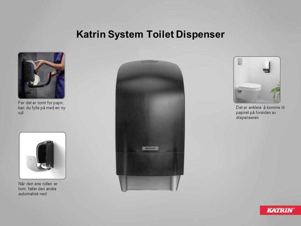 Når den ene rullen er tom, faller den andre automatisk ned Før det er tomt for papir, kan du fylle på med en ny rull Det er enklere å komme til papiret på forsiden av dispenseren Katrin System Toilet Dispenser