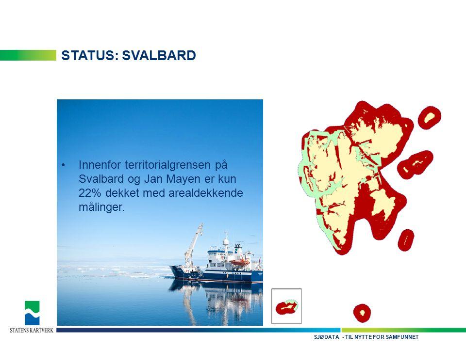 - TIL NYTTE FOR SAMFUNNETSJØDATA STATUS: SVALBARD Innenfor territorialgrensen på Svalbard og Jan Mayen er kun 22% dekket med arealdekkende målinger.