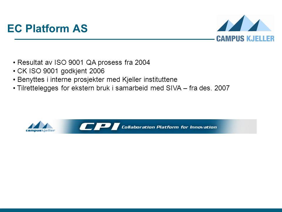 EC Platform AS Resultat av ISO 9001 QA prosess fra 2004 CK ISO 9001 godkjent 2006 Benyttes i interne prosjekter med Kjeller instituttene Tilrettelegges for ekstern bruk i samarbeid med SIVA – fra des.