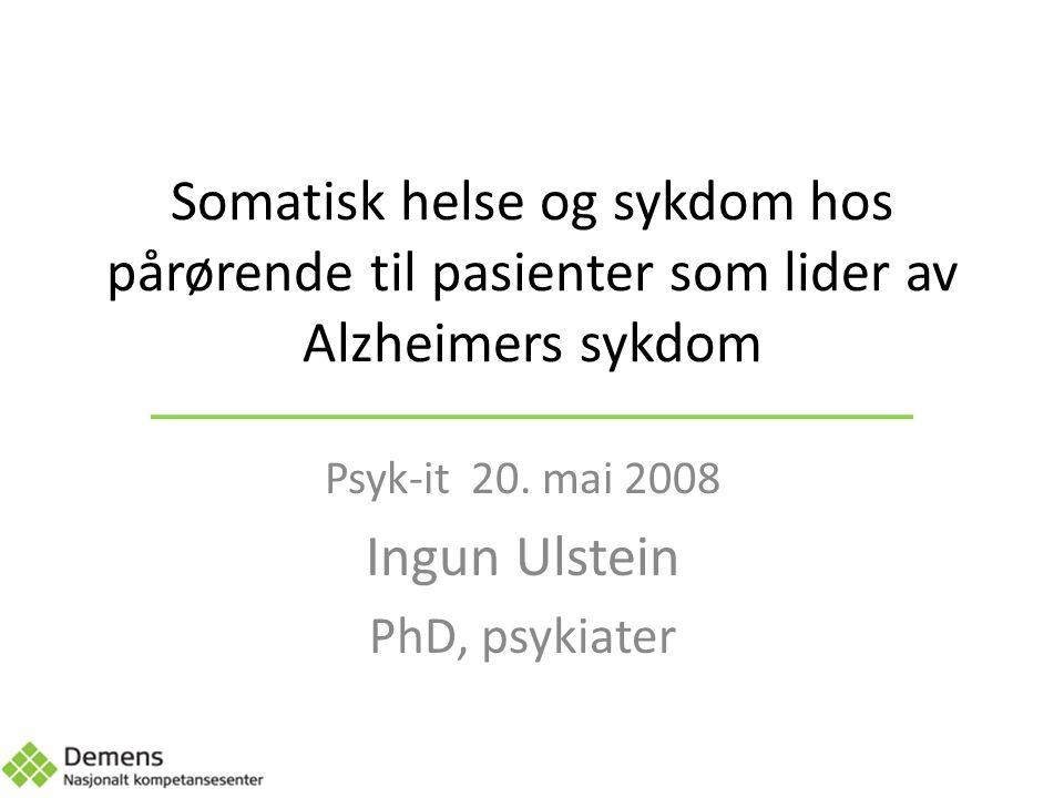 Disposisjon Innledning Tidligere forskning og metaanalyser Somatisk helse og sykdom hos pårørende – Årsaker – Pasientfaktorer – Pårørendekarakteristika – Psykisk sykdom – Andre faktorer Konsekvenser og konklusjon